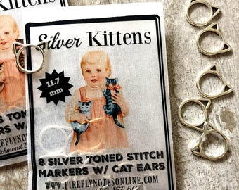Cat stitch markers, small silver or brass toned, knitting gift 11.7 mm