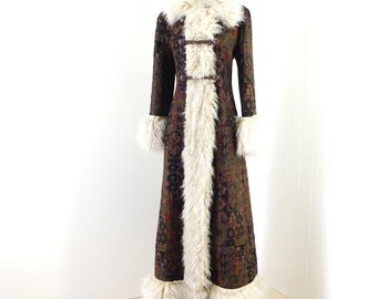 Vintage 1960's Coat... RICH HIPPIE carpet tapestry MONGOLIAN curly fur trimmed long duster boho coat