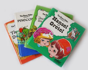 1970s Kids Book Collection Small Size Cute Kids Classic Childrens Hardcover Ugly Duckling Hansel and Gretel Pinocchio Jack and The Beanstock