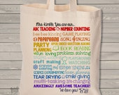 teacher tote bag - adorable teacher superpowers tote for kindergarten, first grade or any grade - great gift for a super teacher MSCL-030