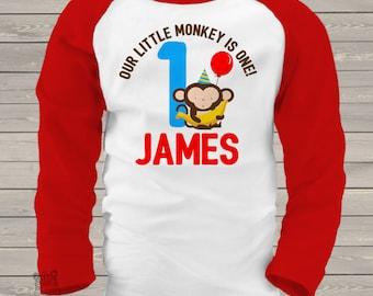 first 1st birthday monkey theme birthday party tshirt little monkey RAGLAN MBD-012