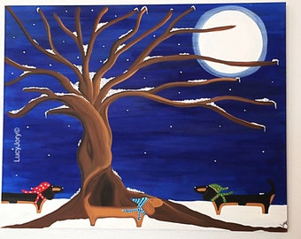 Dachshund Winter Night Art Acrylic Paint Canvas Fall 30 x 24