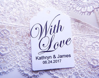 With Love Tag - Wedding Favor Tag - Bridal Shower Tags - Personalized Tags - Custom Wedding Tags - Party Favor Tags - Choose Color & Amount