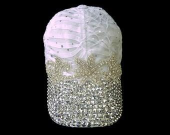 "Women's Baseball Hat, Jeweled Baseball Cap, Golf Visor, Mother's Day Golf Gift, Baseball Cap in White and Silver Sparkle - ""Leading Lady"""