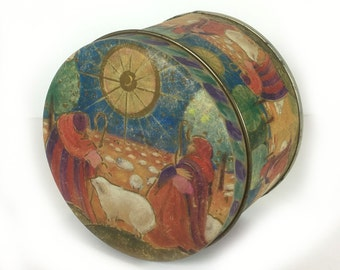 Vintage Christmas Tin - Shepherds and the Star of Bethlehem