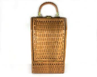 Vintage Wine Tote, Wicker and Wood Tall Narrow Basket, Wine Bottle Carrier, Holds 2 Bottles, Hinged Front, Wicker Handle, Brass Hardware