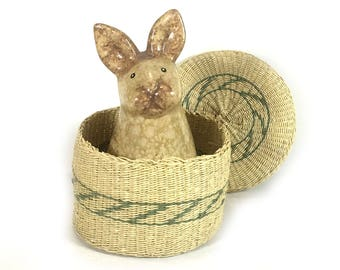 Round Vintage Woven Grass Basket with Lid, Natural Materials, Delicate Green Stripes