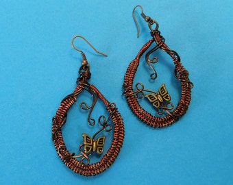 Unique Jewelry for Girlfriend Gift, Woven Copper Wire Earrings, Woven and Sculpted Wire Butterfly Earrings