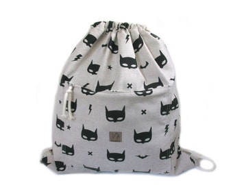batman mask backpack cotton linen