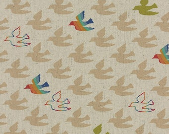 Linen Fabric Blend Flying Colors Linen Birds in Sand by Momo 1/2 yard