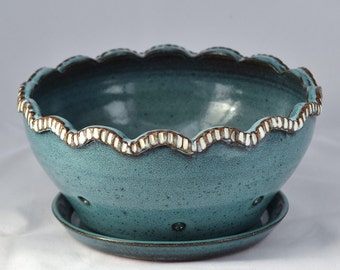 Berry Bowl in Turquoise and White - Ceramic Colander - Stoneware Pottery