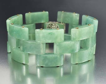 Vintage Panther Link Green Jade Bracelet, Wide Sterling Silver Chinese Bracelet, Statement Bracelet, Articulated Link Gold Luck Bracelet 925