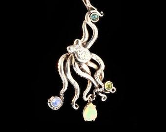 Large Octopus Pendant Kraken with Gemstones Jeweled Octopus Tentacle Necklace Octopus Jewelry Squid Pendant Sea Creature Necklace Opal