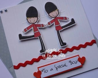 To A Special Boy - Handmade blank birthday card with cute little soldiers