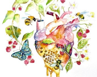 Watercolor Painting Anatomical Heart, Bee and Brambles, Gardener Gift, Original Art, Heart Decor