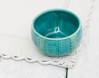 teal sea urchin bowl, porcelain