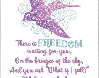 There Is Freedom Waiting For You On the Breezes Of The Sky What If I Fall What If You Fly 8x11 Inch Embroidered Linen Pillow