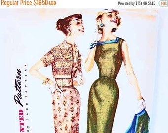 on SALE 25% OFF 1950s Dress Pattern Simplicity Misses size 16 Womens Sheath Dress Pattern Slim Skirt with Short Jacket Vintage Sewing Patter