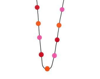 bold red pink and orange necklace, travel jewelry, statement fashion designed by Frank Ideas