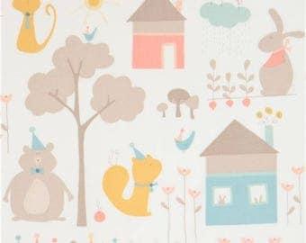 215088 light cream with cute cat rabbit bear house fabric Moda Fabrics