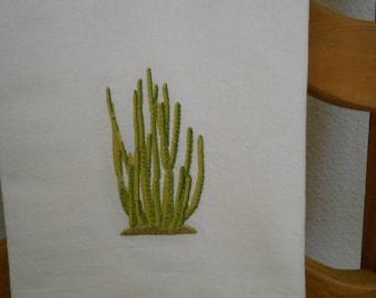 CACTUS ----  ORGAN PIPE  Cactus Machine embroidered Flour Sack/Tea Towel