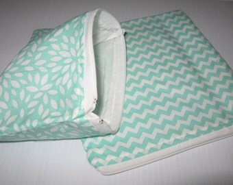 2 pc Reusable Zipper Bag Set Aqua Chevron