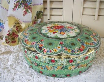 Shabby Green Floral Tin Made in Holland Vintage