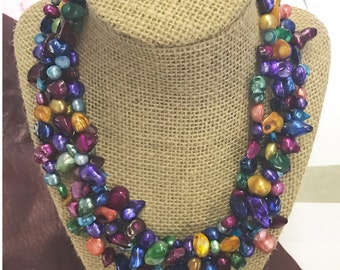 Multi Stran Dyed pearl necklance, sold by each , custom piece , DPN-1001