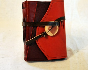 Bright Red Patchwork Leather Journal with Recycled Paper - Small