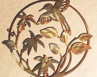 Hummingbird Flower Metal Wall Art  (D 18)