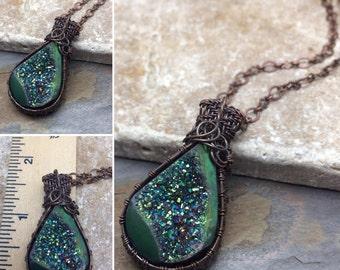 Hand Cut Glittering Blue-Green Titanium Druzy Semi-Precious Quartz Crystal Gemstone necklace~ready to ship~ wire wrap~ wire weaver