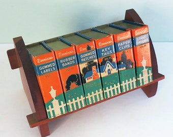Rare Vintage Dennison Desk Set, Small Wooden Bookcase & 6 Mini Books with Charming Cottage Graphic and Assorted Office Supplies