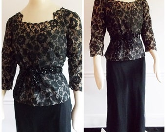 1940s black lace gown with top blouse / 50s hollywood dinner dress/ 40s two piece film noir evening gown
