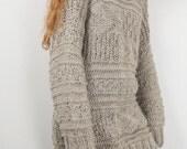Hand knit oversized sweater wool woman sweater long sweater alomond pullover sweater