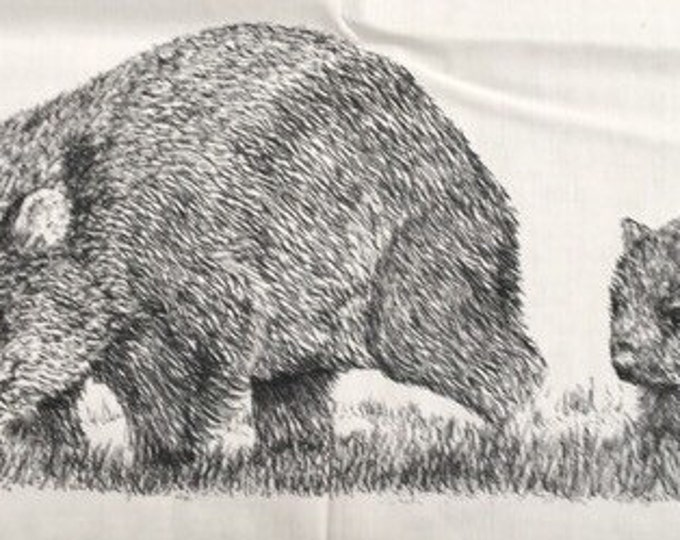 "Wild Wombats  fabric collection by Cindy Watkins ""On the Run "" Back & White original design"