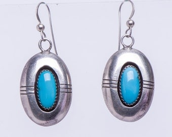 Navajo Turquoise Earrings - Shadow Box Sterling Drop Hooks