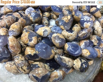 50% Mega Sale 30mm X 25mm Blue Chalcedony Nugget Gemstone Beads - Natural