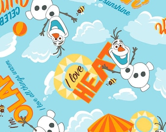 Disney Frozen Olaf I Love Heat Clouds cotton woven BTY
