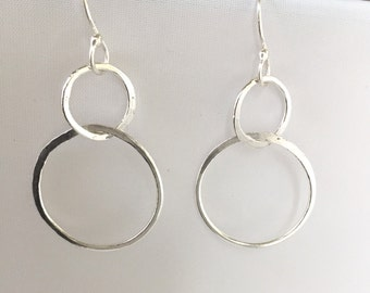 Double Hoop Earrings, Sterling Silver Hammered Jewelry, Hand Forged