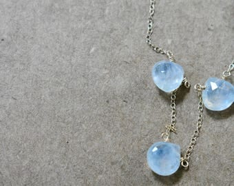 moonstone tear-drop necklace. moonstone dainty drop hand-linked necklace on gold filled chain. delicate moonstone jewelry