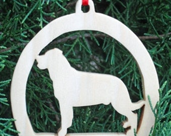 Wooden Rottweiler Christmas Tree Ornament, Christmas Tree Decoration, Holiday Decoration, Canine Ornament, Family Pet Dog Ornament