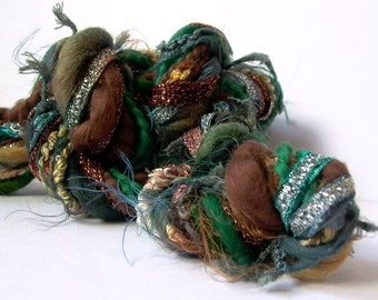 jungle boogie dream weaver effects™ art yarn fiber bundle 30yd mixed media luxury fibers textile craft kit . forest green teal brown copper