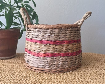 Red Striped Basket with Handles