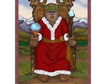 The Emperor Bigfoot Cryptozoology Tarot Print