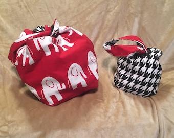 Alabama Project Bag - Small and Large - Dumpling Bag - Wrist Purse - Knot Bag