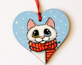 Hand Painted White Odd Eyed Cat Wooden Ornament Decoration | Hanging Heart | Festive Winter Tree Decor