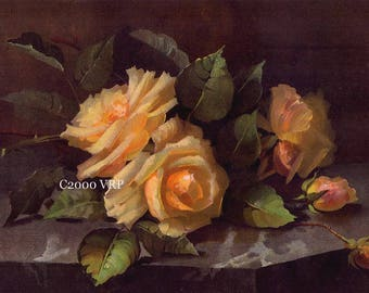 Art Print, The Sweetest Roses, No 2, Half Yard Long, Vintage Roses, Shabby Chic, Rose, Print