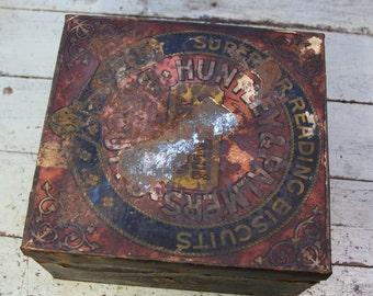 Vintage BISCUIT TIN- Huntley & Palmer's Superior Reading Biscuits- Large Tin Box- Studio Storage- Farmhouse Decor- C16