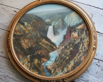 Vintage WATERFALL Print- Round Frame Woods Mountain Water Framed Picture Camp Outdoor Decor- Muted Tones- Gold Frame
