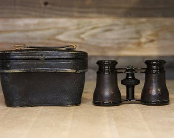 Vintage Le Maire Fabt PARIS OPERA GLASSES France- Steampunk- Antique Binoculars with Leather Case- French Opera Glasses